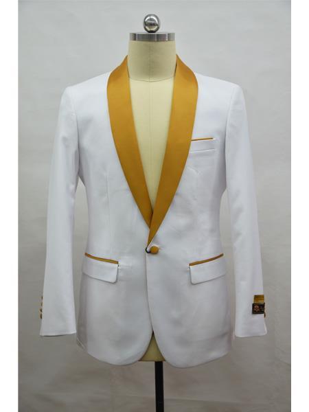Men's Blazer  White ~ Gold Tuxedo Dinner Jacket and Blazer Two Toned