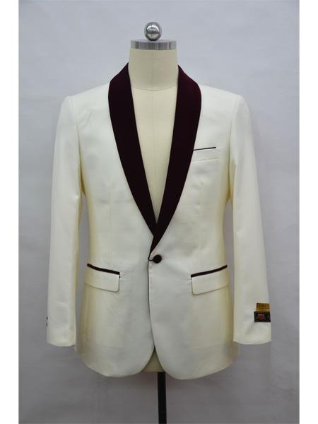 Mens Blazer  Ivory ~ Burgundy Tuxedo Dinner Jacket and Blazer Two Toned