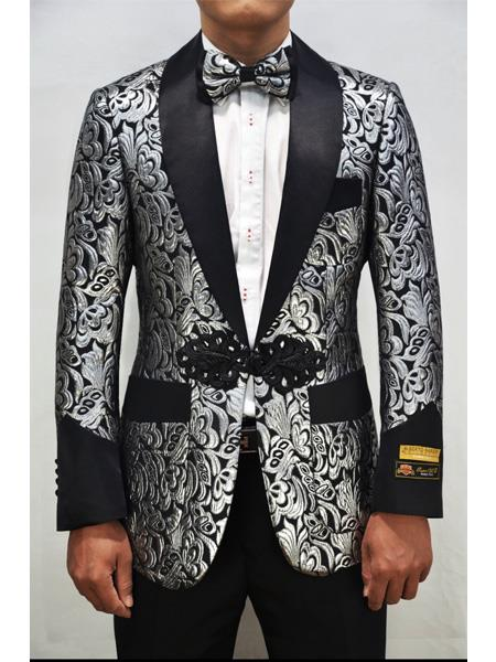 Alberto Nardoni Dinner Smoking Jacket Blazer Sport Jacket Paisley ~ Floral ~ Fashion Prom Pattern Silver ~ Black Tuxedo