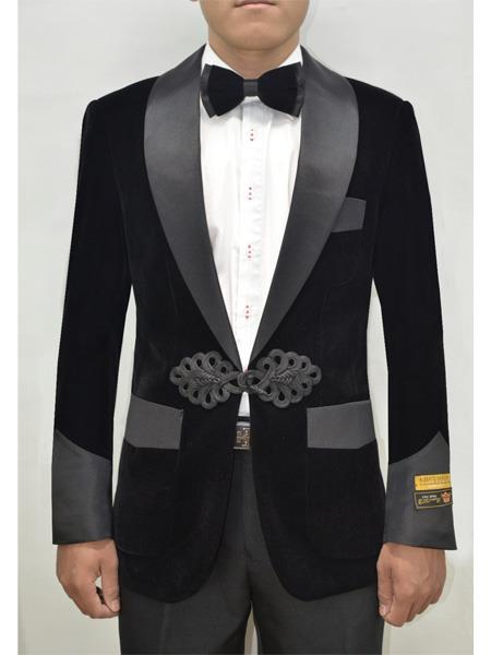 Alberto Nardoni Dinner Smoking Jacket Blazer Sport Jacket Black ~ Black Tuxedo Velvet ~ Velour Smoking Coat