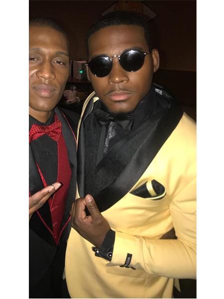Men's Yellow ~ Gold and black Lapel Tuxedo Suit Jacket & pants