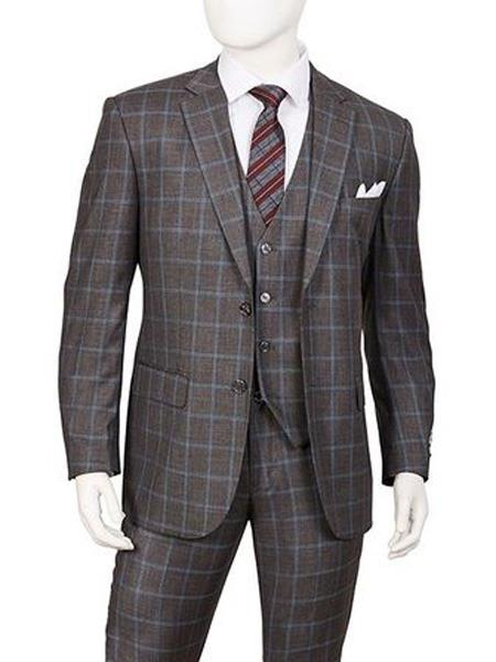Buy SR152 Mens Gray 3 Piece Single Breasted Two Button Vittorio Windowpane Pattern Suits
