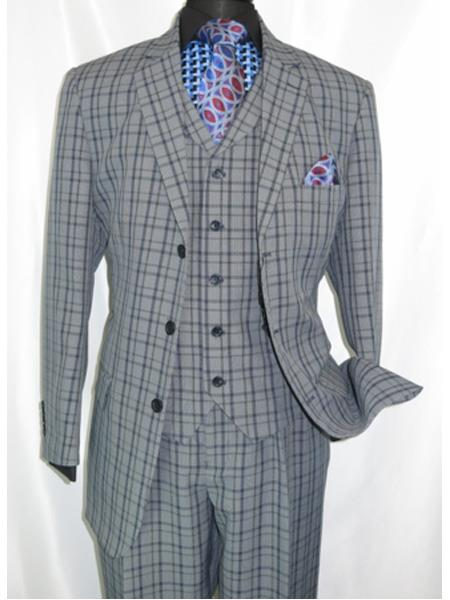 1920s Men's Clothing 1920s Style Plaid WindowChecker Pane Mens Suits Pleated Pants Navy $149.00 AT vintagedancer.com
