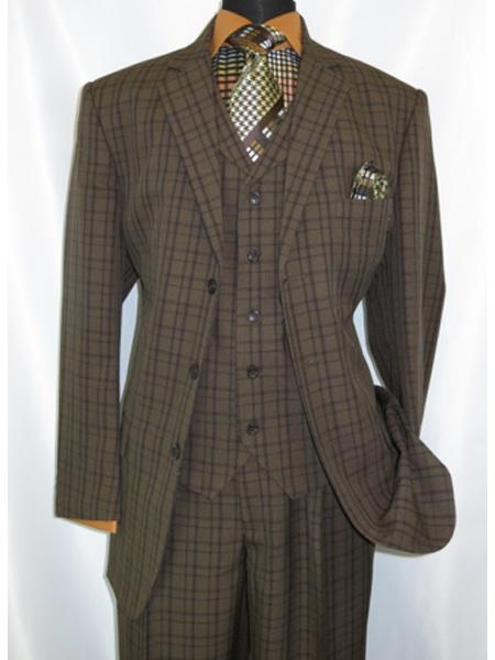1920s Men's Clothing 1920s Style Plaid Window Checker Pane Mens Suits Pleated Pants Brown $149.00 AT vintagedancer.com