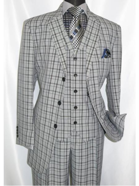 Men's Vintage Style Suits, Classic Suits 1920s Style Plaid Window Checker Pane Suit Pleated Pant Black Grey $149.00 AT vintagedancer.com