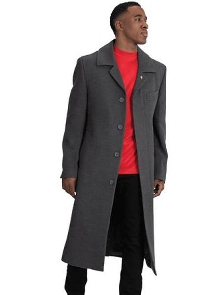 Mens Dress Coat Blu Martini Four Button  Wool Full Length Charcoal Overcoat