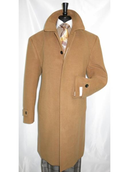 Mens Dress Coat Covered Button Wool Regular Fit Camel Overcoat