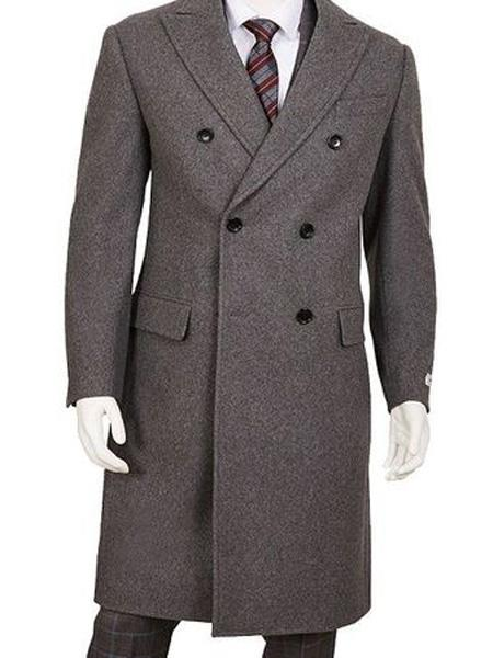 Mens Dress Coat Gray Double Breasted Five Button Wool ~ Poly Blend Overcoat