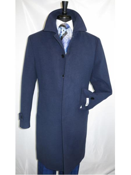 Mens Dress Coat Navy Covered Button Regular Fit Wool Overcoat