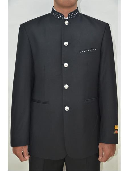 Men's Five Button Mandarin Banded Collar Black Suits