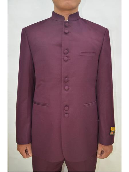 Mens Eight Button Mandarin Banded Collar Burgundy Suits