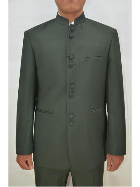 Mens Eight Button Mandarin Banded Collar Olive Green Suits