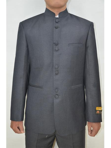 Men's Eight Button Mandarin Banded Collar Charcoal Suits