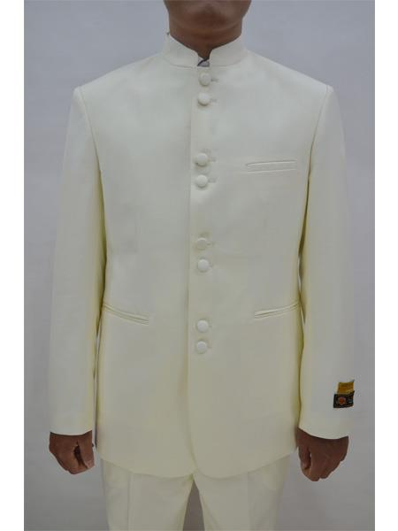 Men's Eight Button Mandarin Banded Collar Ivory Suits