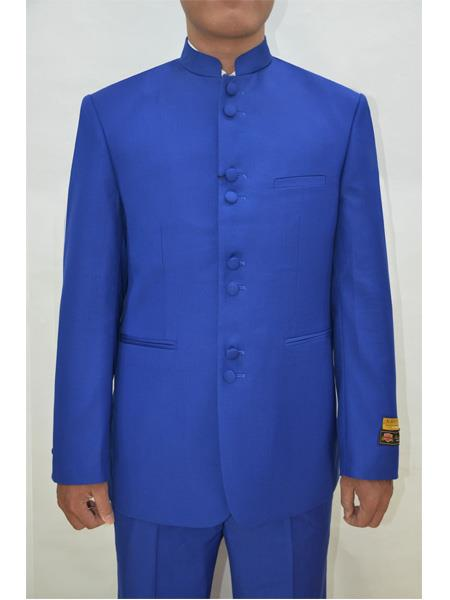 Mens Eight Button Mandarin Banded Collar Royal Blue Dress Suits for Men