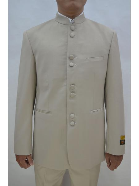 Men's Eight Button Mandarin Banded CollarTan Suits