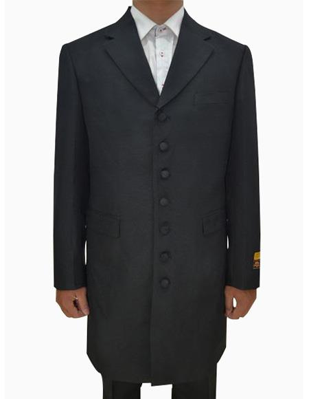 Mens Black Single Breasted Seven Button Zoot Suits