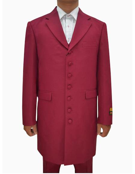 Mens Burgundy Single Breasted Seven Button Zoot Suits