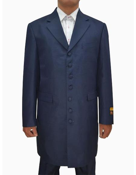 Mens Dark Navy Single Breasted Seven Button Zoot Suits