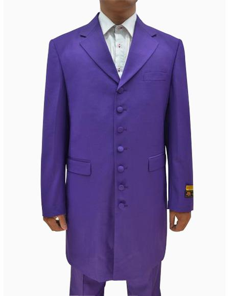 Mens Purple Single Breasted Seven Button Zoot Suits