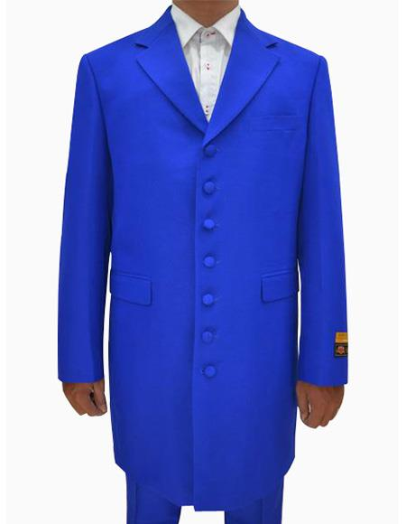 Mens Royal Single Breasted Seven Button Zoot Dress Suits for Men