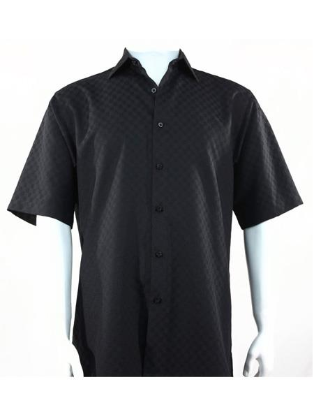 Mens Black Full Cut Short Sleeve Shirt