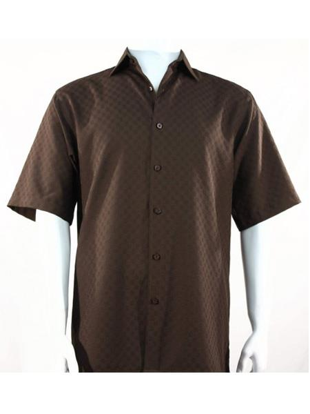 Mens Bassiri Button Down Short Sleeve Shadow Squares Chocolate Shirt