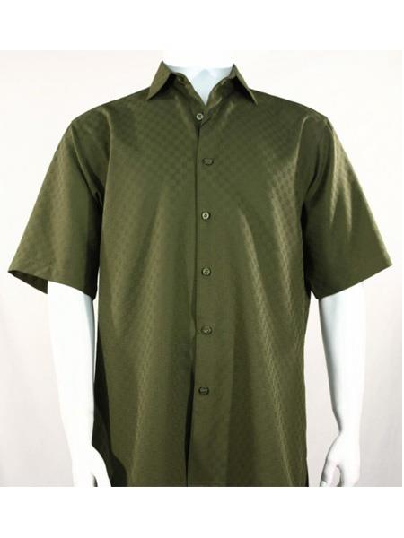 Men's Bassiri Button Down Short Sleeve Shadow Squares Olive Shirt