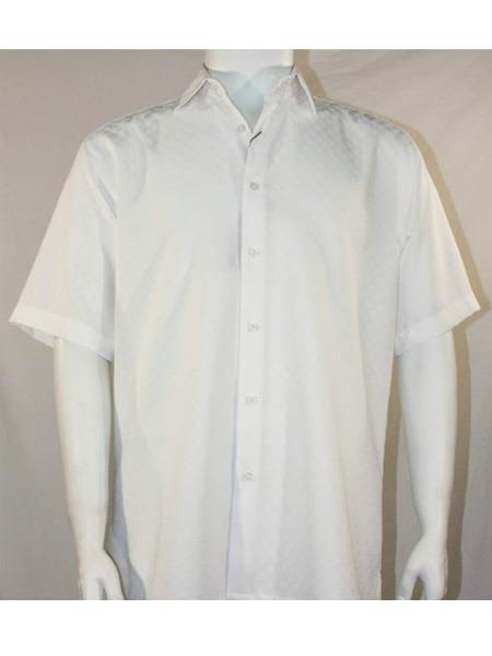 Men's Bassiri Button Down Short Sleeve Shadow Squares White Shirt