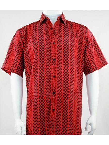 Mens Bassiri Button Down Short Sleeve Geo Pattern Red Shirt