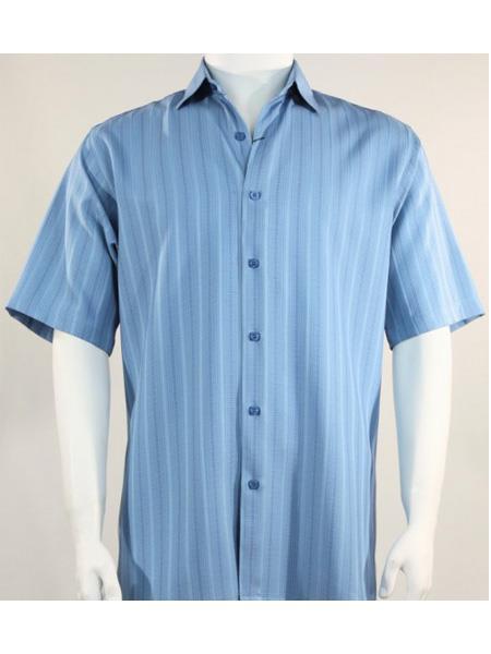 Mens Bassiri Button Down Short Sleeve Shadow Light Blue Shirt