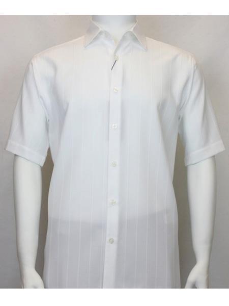 Mens Bassiri Button Down Short Sleeve Shadow White Shirt