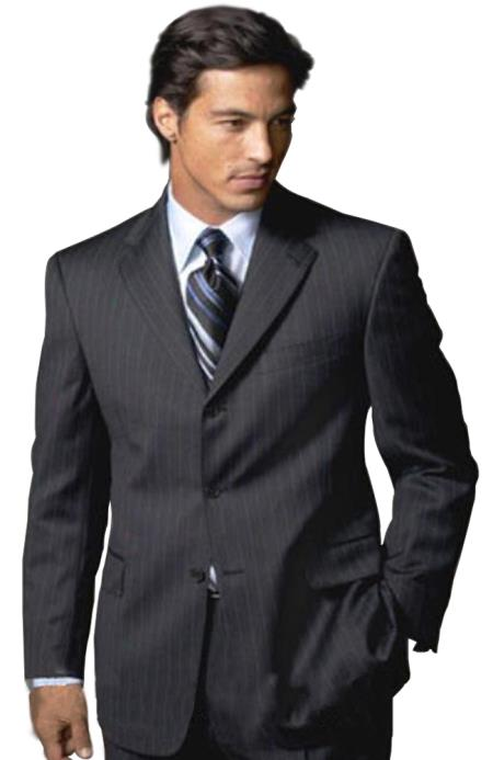 SKU# MUZ770 Sharp Black & Black Shadow Pinstripe Super 140s Wool Feel Touch Poly Rayon 3 buttons Men&#39s Suits