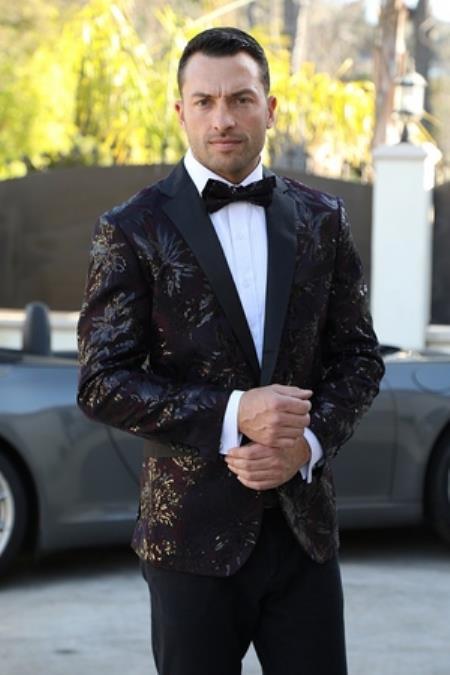 Mens Peak Lapel Burgundy and black Pattern Paisely  Designer Dinner Jacket