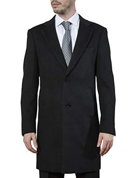 Mens Dress Coat 2 Buttons Style Long Jacket Carcoat ~Three Quarter Single Breasted Modern Fit Polyester ~ Viscose ~  Spandex Black Long Mens Dress Topcoat -  Winter coat