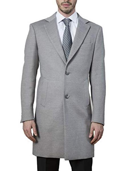 Mens Dress Coat 2 Buttons Style Long Jacket Carcoat ~Three Quarter Single Breasted Modern Fit Polyester ~ Viscose ~  Spandex Light Grey Long Mens Dress Topcoat -  Winter coat