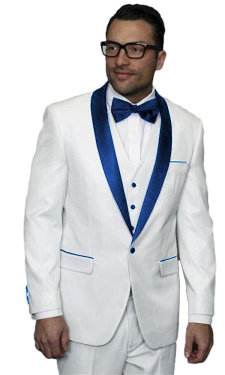 Mens Alberto Nardoni White Tuxedo Dark Navy Blue Jacket Wedding ~ Prom Vested Suit