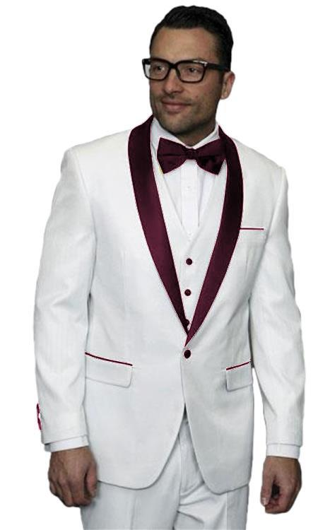 Men's Alberto Nardoni White and Burgundy ~ Maroon ~ Wine Jacket Wedding ~ Prom Tuxedo