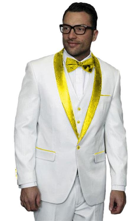 Mens Alberto Nardoni White Tuxedo ~ Tux Gold ~ Yellow 3 Piece Jacket Vested Wedding Prom Suit