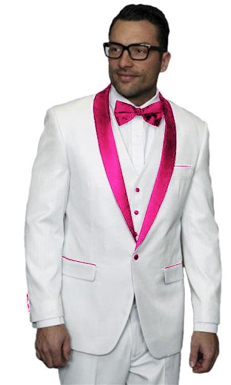 Mens Alberto Nardoni White Tuxedo Pink Tux Jacket Vested Wedding ~ Prom Wedding ~ Prom 3 Piece Suit