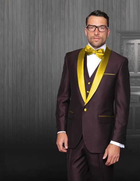 Men's Shawl Lapel Burgundy Tuxedo Gold