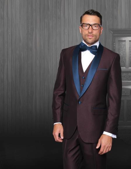 Mens Burgundy Tuxedo Shawl Lapel Single Breasted Navy Blue
