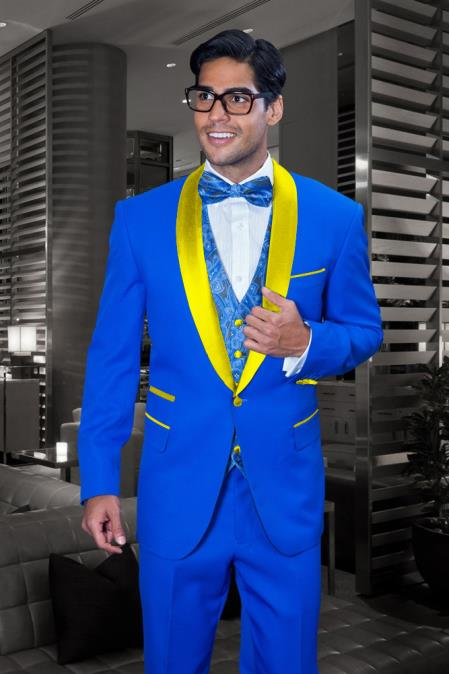 Mens Royal Blue and Yellow Tuxedo Jacket & Pants