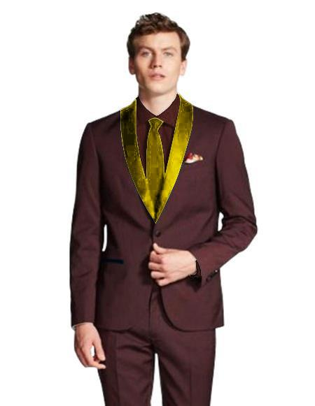 Mens Shawl Lapel Single Breasted Burgundy/Gold ~ Wine ~ Burgundy Suit