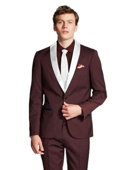 Mens Dark Navy Blue Shawl Lapel Single Breasted Burgundy/White ~ Wine ~ Maroon Color Tuxed