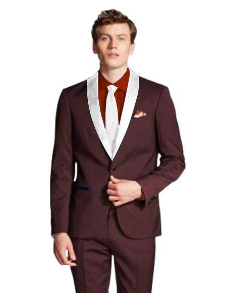 Men's Shawl Lapel  Maroon/White ~ Wine ~ Maroon Suit  Tuxedo  Burgundy Suit