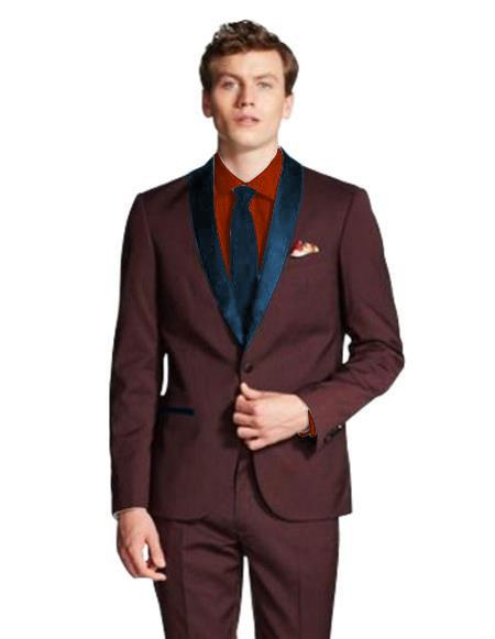 Men's Shawl Lapel  Maroon/Navy ~ Wine ~ Maroon Suit  Tuxedo Burgundy Suit