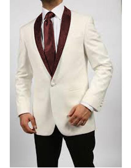 Mens Blazer Ivory/Burgundy ~ Cream Tuxedo