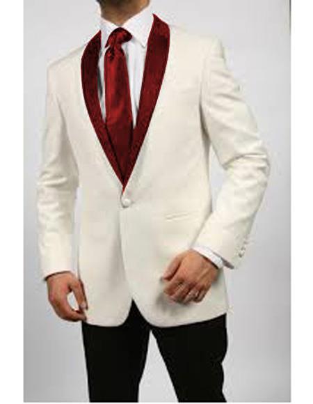 Mens Blazer Ivory/Maroon ~ Cream Tuxedo