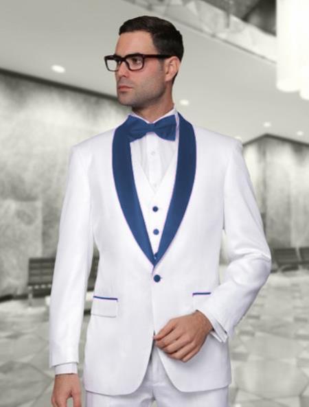 Alberto Nardoni White and Dark Navy BlueVested Shawl Lapel Tuxedo Wedding / Prom Fashion Two Toned Suit Jacket & & Vest & Pants